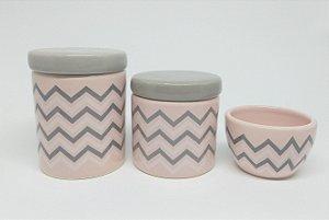 Kit Higiene Bebê Cerâmica  Chevron Rosa Antigo e Cinza
