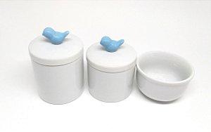 Kit Higiene Bebê Porcelana | Pássaro Azul | 3 peças