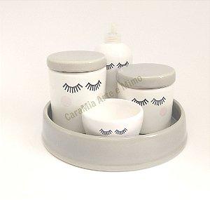 Kit Higiene Bebê Cerâmica | Olhinhos Cílios Cinza | 5 Peças |