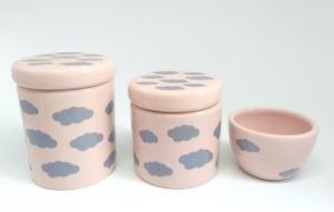 LIQUIDAÇÃO Kit Higiene Bebê Cerâmica|Nuvem Cinza e Rosa Antigo| 3 Peças |