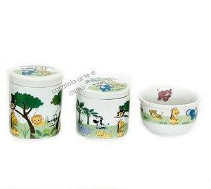 Kit Higiene bebê Porcelana | Novo Safári | 3 peças