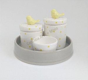 Kit Higiene Bebê Cerâmica com Bandeja| Poá Amarelo com Pássaros| 4 peças