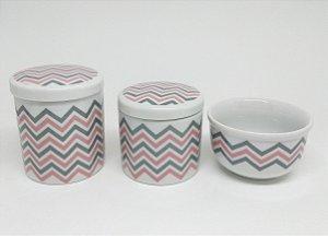 Kit Higiene Bebê | Chevron Rosa | 3 Peças |
