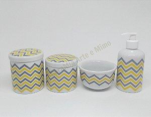 Kit Higiene Bebê Porcelana| Chevron Amarelo e Cinza| 4 peças