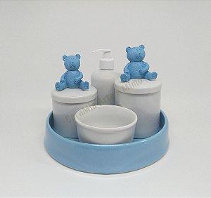 Kit Higiene Bebê Porcelana | Urso Grande Azul + Bandeja  Azul| 5 peças