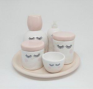 Kit Higiene Bebê Cerâmica| Olhinhos com Moringa e Bandeja em Rosa Antigo|