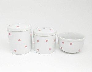Kit Higiene Bebê Porcelana | Poá Rosa