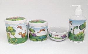 Kit Higiene Bebê Porcelana| Dinossauros| 4 peças