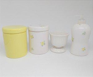 Kit Higiene Cerâmica | Floral Amarelo | 4 peças