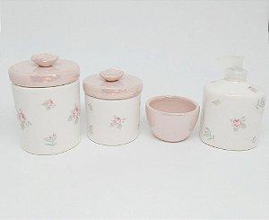Kit Higiene Bebê Cerâmica| Floral com Tampas Perolizadas| 4 peças