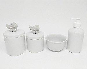 Kit Higiene Bebê Porcelana| Elefantinho Cinza em Biscuit| 4 Peças