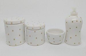 Kit Higiene Bebê Cerâmica | Poá Bege|4 peças