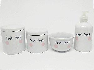 Kit Higiene Bebê Porcelana | Olhinhos Cílios | 4 peças