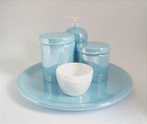 LIQUIDAÇÃO Kit Higiene Bebê Cerâmica Perolizado Azul bebê e Branco