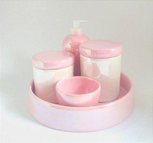 LIQUIDAÇÃO Kit Higiene Bebê Cerâmica Perolizado Rosa bebê e Branco