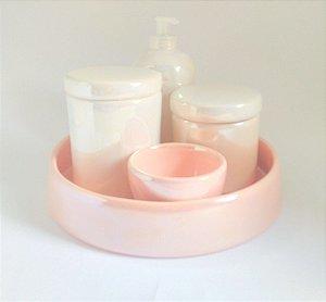 LIQUIDAÇÃO Kit Higiene Bebê Cerâmica Perolizado Branco e Rosa Antigo