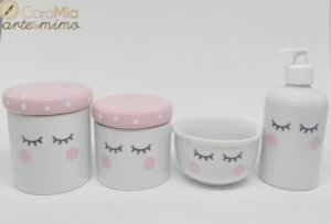 Kit Higiene bebê Porcelana Olhinhos Cílios com Tampa Rosa Bebê com Poá