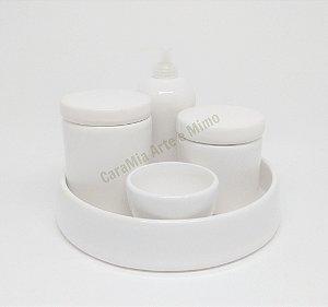 Kit Higiene Bebê Cerâmica Branco com Bandeja 5 peças