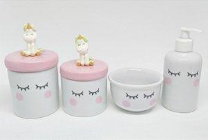 Kit Higiene Bebê Porcelana Olhinhos Cílios Unicórnio em Biscuit