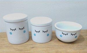 Pré Lançamento - Kit Higiene Bebê Porcelana Olhinhos Cílios - Bochechas Azuis 3 peças