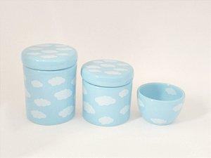 Kit Higiene Bebê Cerâmica Nuvem Azul 3 peças