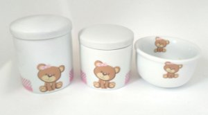 LIQUIDAÇÃO Kit Higiene Bebê Porcelana Ursinha 3 peças