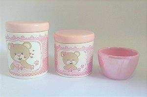 Kit Higiene Bebê Cerâmica - Ursinha Tons de Rosa - 3 peças