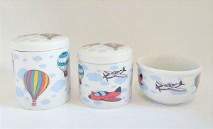 Kit Higiene Bebê Porcelana - Avião|balão - 3 peças