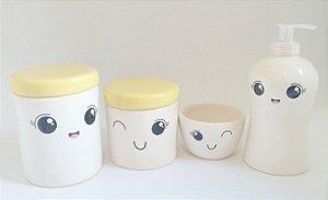 Kit Higiene Bebê Cerâmica Amarelo| Rostinho/olhinhos/Cílios| 4 peças