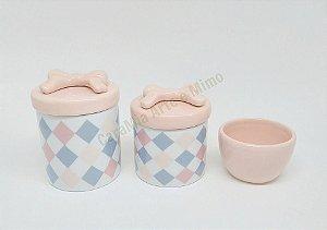 Kit Higiene Bebê Porcelana|Losango com Laço| 3 Peças