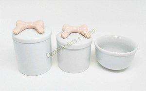 Kit Higiene Bebê Porcelana Laço Rosa Antigo 3 peças