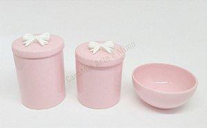 Kit Higiene Bebê Porcelana Rosa|Laço Branco Resina| 3 peças