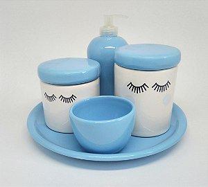 Kit Higiene Bebê Cerâmica |Olhinhos Cílios Azul com Bandeja e Bochechas Azuis | 5 Peças