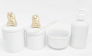 Kit Higiene Bebê Porcelana  Ursinha Cerâmica em Dourado   4 Peças