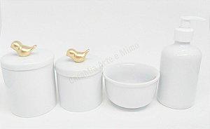 Kit Higiene Bebê Porcelana| Pássaro Dourado em Cerâmica| 4 Peças