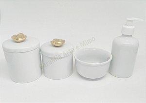 Kit Higiene Bebê Porcelana  Rosa em Dourado  4 Peças