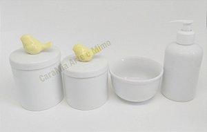 Kit Higiene Bebê Porcelana | Pássaros Amarelos| 4 peças