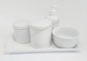 Kit Higiene Bebê Porcelana com Bandeja em Porcelana| Branco| 5 peças