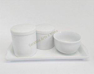 Kit Higiene Bebê Porcelana | Branco| 4 peças