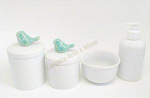 Kit Higiene Bebê Porcelana | Pássaros Tifanny| 4 peças