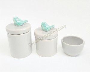 Kit Higiene Bebê Cerâmica| Cinza com Pássaro Tifanny Perolizado|