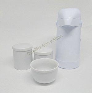 Kit Higiene Bebê Porcelana Branca com Garrafa Térmica 500 ml ( kit básico)