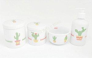 Kit Higiene Bebê Porcelana | Cactos | 4 peças