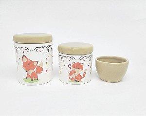 Kit Higiene Bebê Cerâmica | Raposa & Raposinha | 3 peças