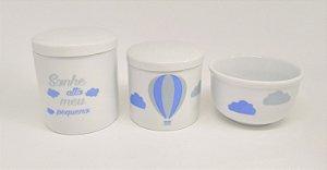 Kit Higiene Bebê Porcelana | Sonhe Alto Meu Pequeno & Balão Azul & Nuvem | 3 peças