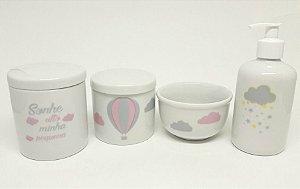 Kit Higiene Bebê Porcelana | Sonhe Alto Minha Pequena & Balão Rosa & Nuvem & Chuva de Estrelas Amarelas e Cinzas| 4 peças