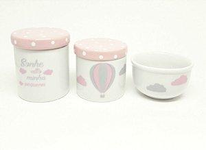 Kit Higiene Bebê Porcelana| Sonhe Alto Minha Pequena| Balão Rosa | Nuvem | Tampa Poá