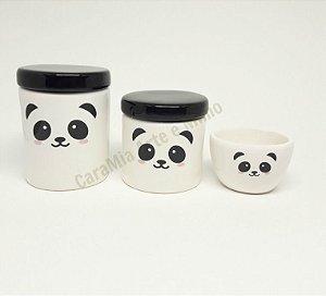 Kit Higiene Bebê Cerâmica Panda | 3 peças