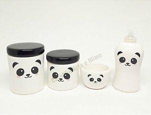 Kit Higiene Bebê Cerâmica | Panda |4 peças