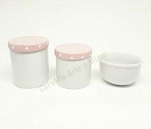 Kit Higiene bebê Porcelana | Escolha as Tampas | 3 peças